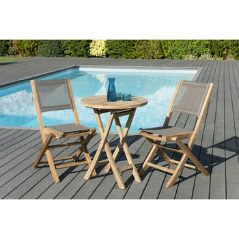 Salon de Jardin Teck Table D60 + 2 chaises pliantes SUMMER ref. 30020847