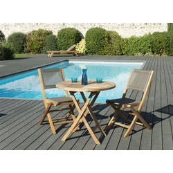 Salon de Jardin Teck Table D80 + 2 chaises pliantes SUMMER ref. 30020848