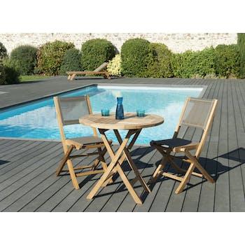 Salon de Jardin Teck Table D80 + 2 chaises pliantes SUMMER ref. 30020848