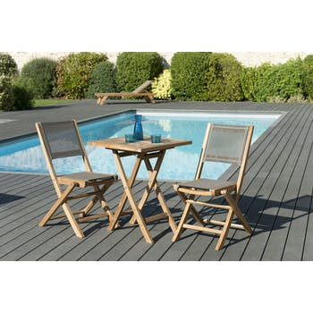 Salon de Jardin Teck Table carrée 60x60 + 2 chaises pliantes SUMMER ref. 30020849