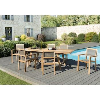 Salon de Jardin Teck Table extensible 180/240 + 6 fauteuils empilables SUMMER ref. 30020850
