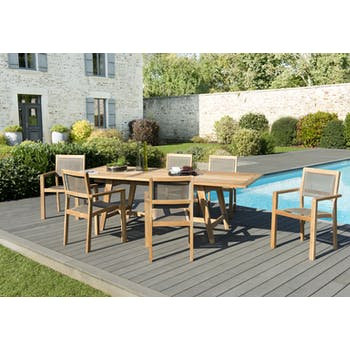 Salon de Jardin Teck Table extensible 180/240 + 6 fauteuils empilables SUMMER ref. 30020850