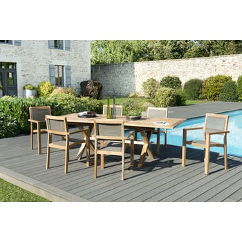 Salon de Jardin Teck Table extensible 180/240 + 6 fauteuils empilables SUMMER ref. 30020851