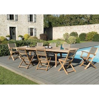 Salon de Jardin Teck Table extensible 200/300 + 6 chaises pliantes 2 fauteuils pliants SUMMER ref. 30020853