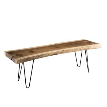 Banc en bois de mungur pieds épingle métal 141x45 cm JAIPUR