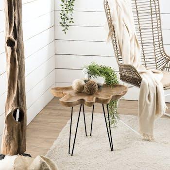 Bout de canapé bois de teck pieds épingle JAIPUR