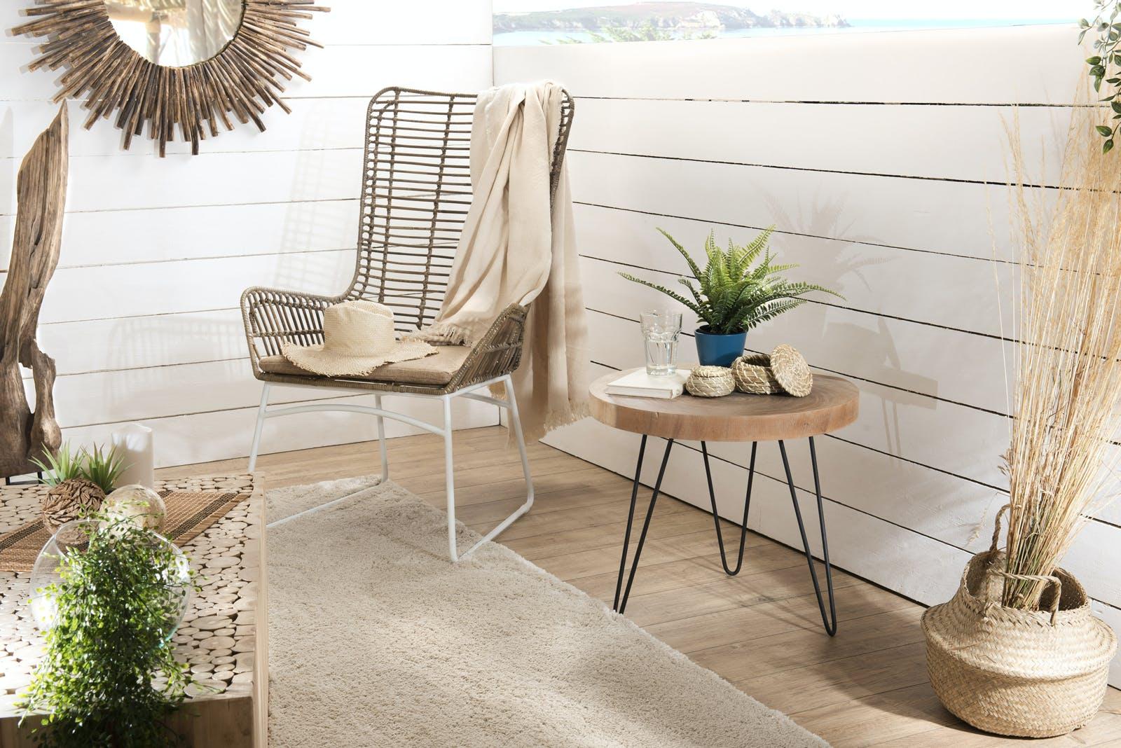 Table d'appoint bois ronde pieds épingle D55 JAIPUR
