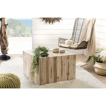 Table basse carrée bois de teck 70x70 cm Jaipur