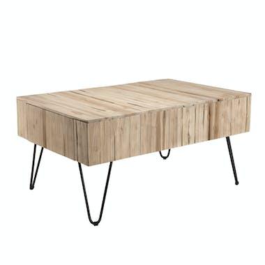 Table basse avec tiroirs teck pieds épingle 90x60 cm Jaipur
