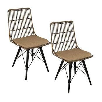 Lot de 2 chaises rotin kubu pieds métal noir Bogor