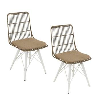 Lot de 2 chaises rotin kubu pieds métal blanc Bogor