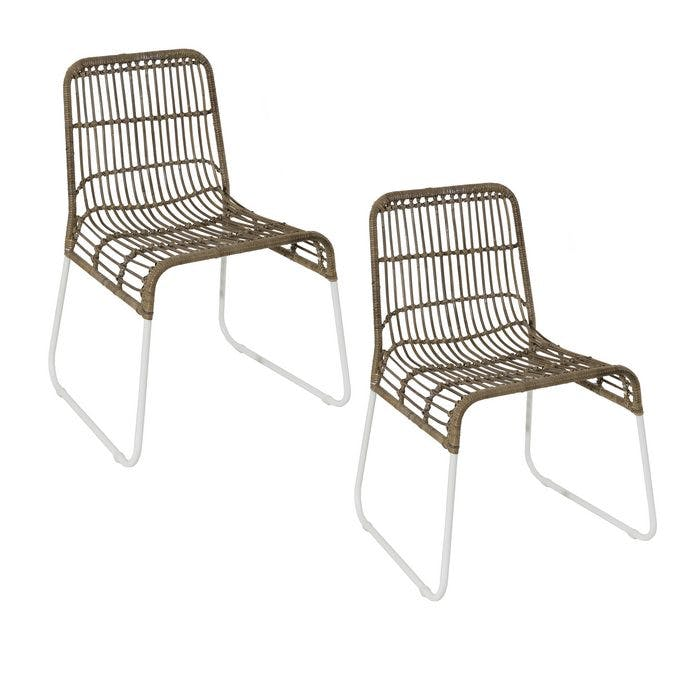 Lot de 2 chaises rotin kubu assise large pieds métal blanc Bogor