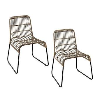 Lot de 2 chaises rotin kubu assise large pieds métal noir Bogor