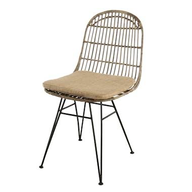 Lot de 2 chaises rotin kubu dossier rond pieds métal noir Bogor