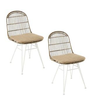 Lot de 2 chaises rotin kubu dossier rond pieds métal blanc Bogor