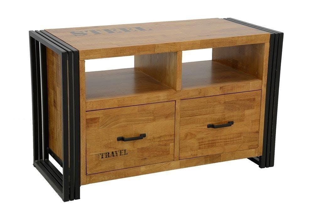 Meuble TV hévéa recyclé naturel et métal noirci 2 tiroirs 2 niches 90X40X55cm DOCKER