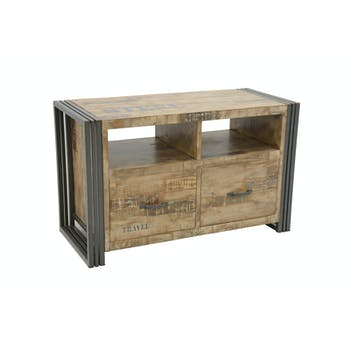 Meuble TV hévéa recyclé blanchi et métal noirci 2 tiroirs 2 niches 90X40X55cm DOCKER