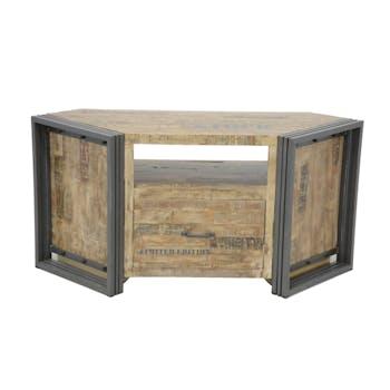 Meuble TV d'angle hévéa recyclé blanchi et métal noirci 1 tiroir 1 niche 115X40X55cm DOCKER