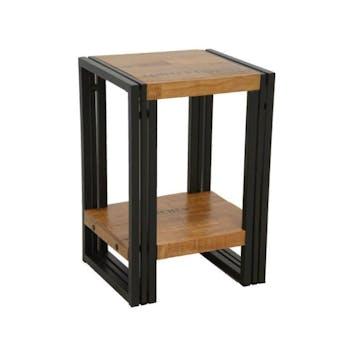 Bout de canapé / Table d'appoint hévéa recyclé naturel et métal noirci 2 plateaux 35X30X50cm DOCKER
