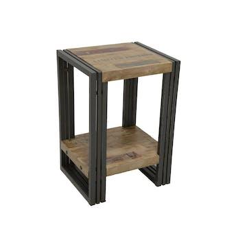 Bout de canapé / Table d'appoint hévéa recyclé blanchi et métal noirci 2 plateaux 35X30X50cm DOCKER