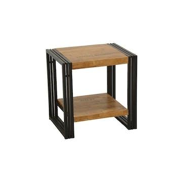 Bout de canapé / Table d'appoint hévéa recyclé naturel et métal noirci 2 plateaux 50X40X50cm DOCKER