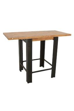 Table bar / Mange debout carrée extensible hévéa recyclé naturel et métal noirci 70/140X70X105cm DOCKER
