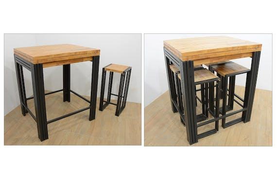 Table bar / Mange debout rectangle extensible hévéa recyclé naturel et métal noirci 90/180X80X105cm DOCKER