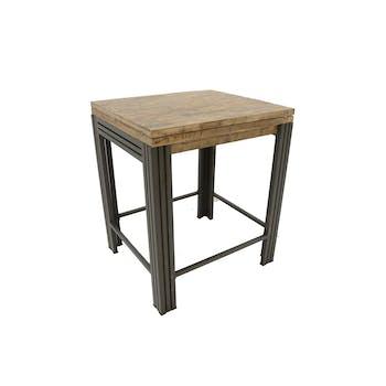Table bar / Mange debout rectangle extensible hévéa recyclé blanchi et métal noirci 90/180X80X105cm DOCKER