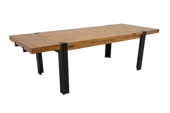 Table de repas rectangle extensible hévéa recyclé naturel et métal noirci 180/260X100X76cm DOCKER