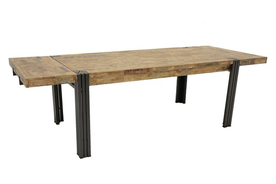 Table de repas rectangle extensible hévéa recyclé blanchi et métal noirci 180/260X100X76cm DOCKER