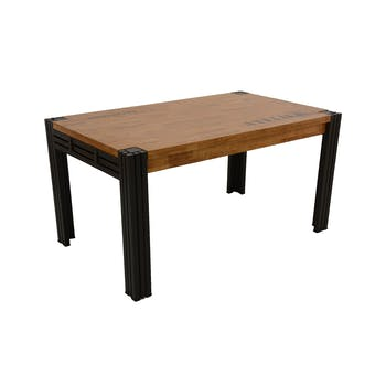 Table de repas rectangle extensible hévéa recyclé naturel et métal noirci 150/230X90X76cm DOCKER