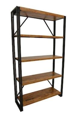 Bibliothèque hévéa recyclé naturel et métal noirci 4 étagères 122X40X210cm DOCKER