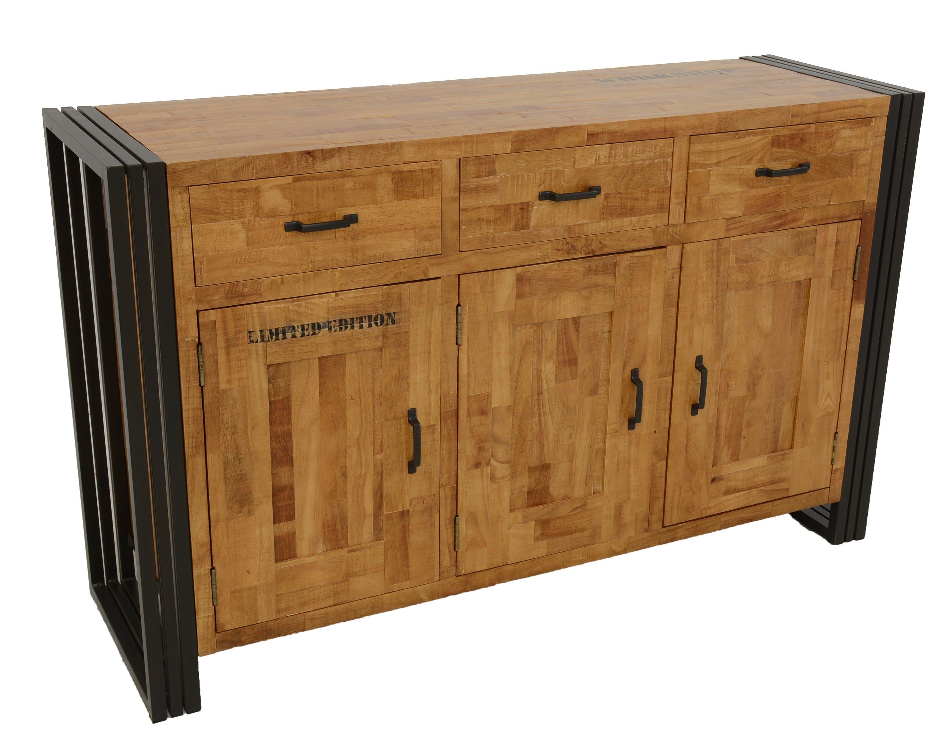 Buffet enfilade hévéa recyclé naturel et métal noirci 3 tiroirs 3 portes 150X45X90cm DOCKER