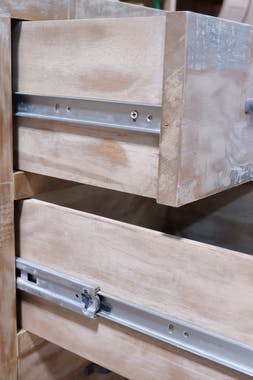 Buffet enfilade hévéa recyclé blanchi et métal noirci 3 tiroirs 3 portes 150X45X90cm DOCKER