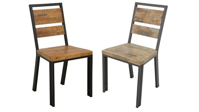 Chaise hévéa recyclé blanchi et métal noirci 45X51XH90cm DOCKER