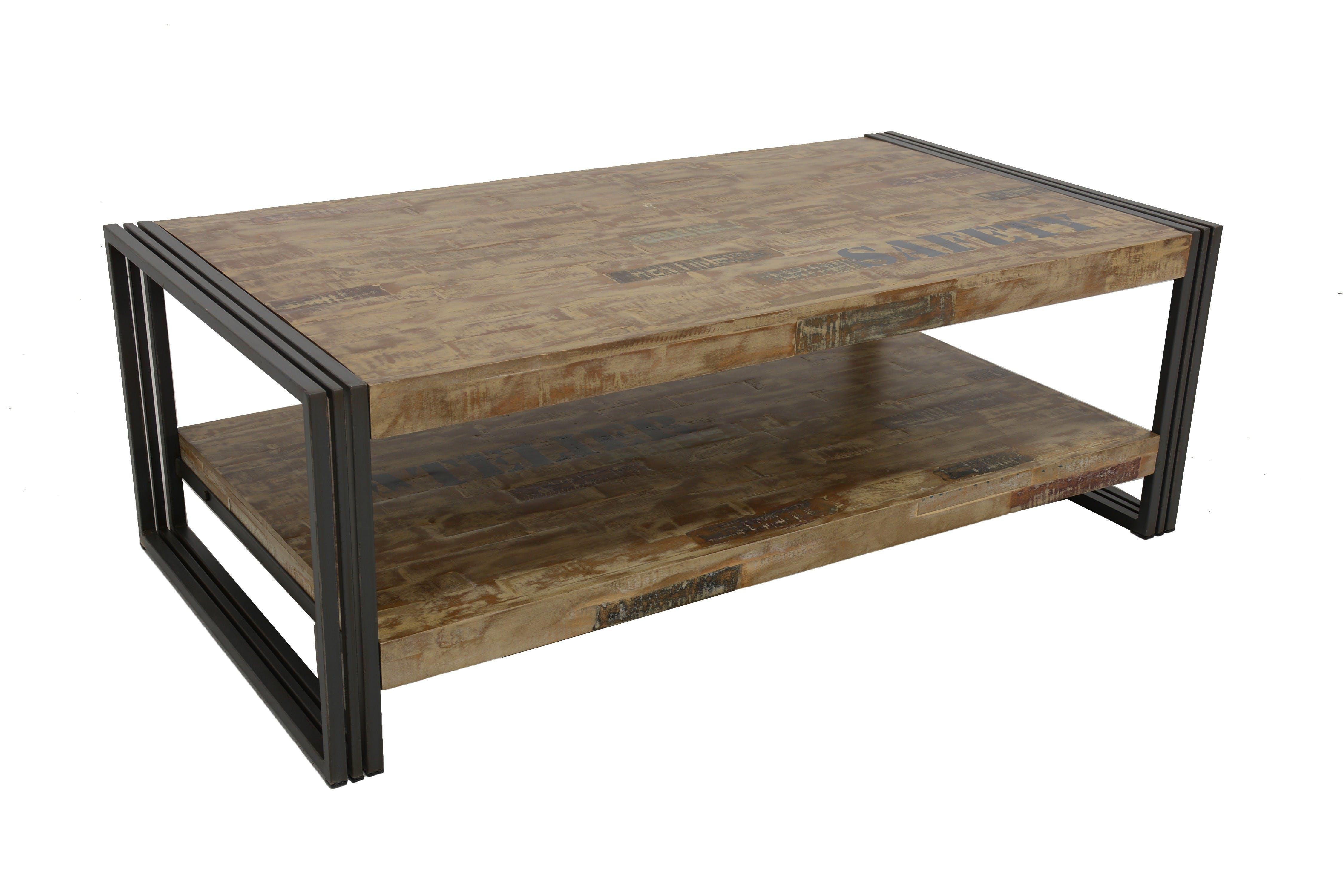 Table basse rectangle hévéa recyclé blanchi et métal noirci 2 plateaux 130X70X45cm DOCKER
