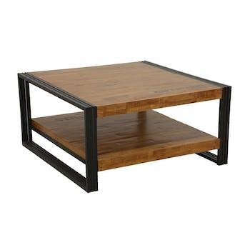 Table basse carrée hévéa recyclé naturel et métal noirci 2 plateaux 90X90X45cm DOCKER