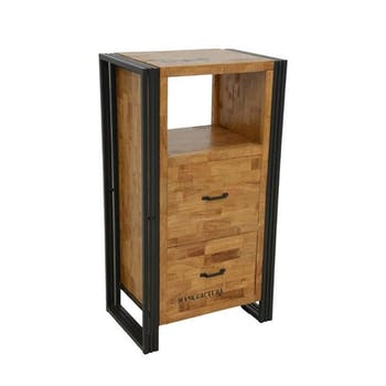 Commode / Chiffonnier hévéa recyclé naturel et métal noirci 2 tiroirs 1 niche 60X40X110cm DOCKER