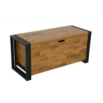 Coffre hévéa recyclé naturel et métal noirci 100X40X45cm DOCKER