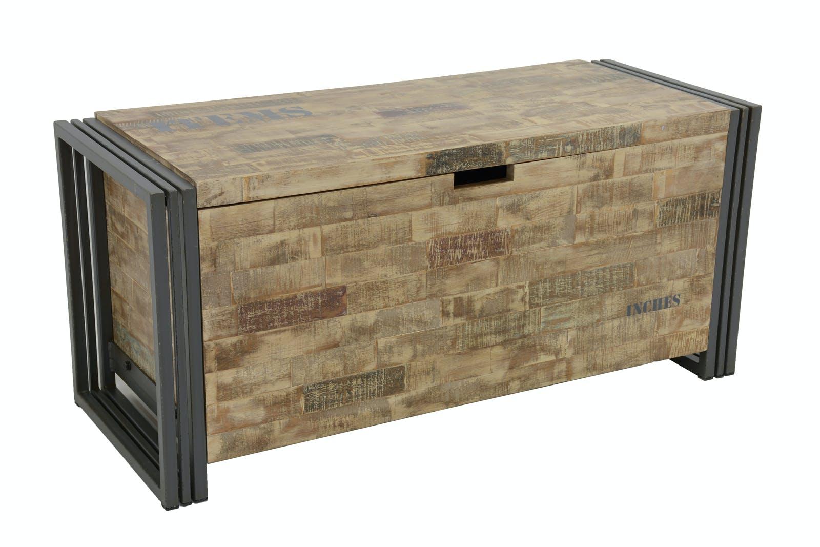 Coffre hévéa recyclé blanchi et métal noirci 100X40X45cm DOCKER