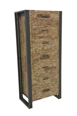 Meuble à chaussures hévéa recyclé blanchi et métal noirci 7 tiroirs  65X40X150cm DOCKER