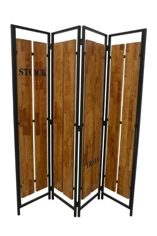 Paravent 4 panneaux hévéa recyclé naturel et métal noirci 160X170cm DOCKER