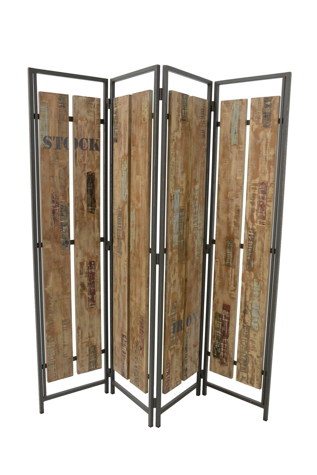 Paravent 4 panneaux hévéa recyclé blanchi et métal noirci 160X170cm DOCKER