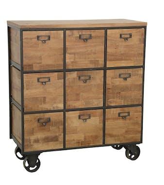 Meuble de Rangement à roulettes 9 tiroirs en Hévéa recyclé naturel et métal 76x35x83cm LOFT