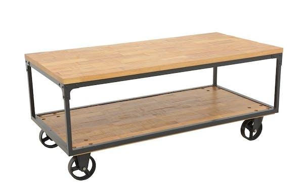 Table basse à roulettes double plateaux en Hévéa recyclé naturel et métal 120x60x47cm LOFT