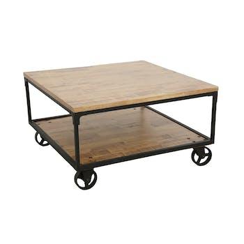 Table basse à roulettes double plateaux en Hévéa recyclé naturel et métal 90x90x47cm LOFT