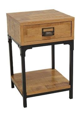 Table de Chevet / Bout de Canapé 1 tiroir, 1 plateau bas en Hévéa recyclé naturel et métal 35x35x55cm LOFT