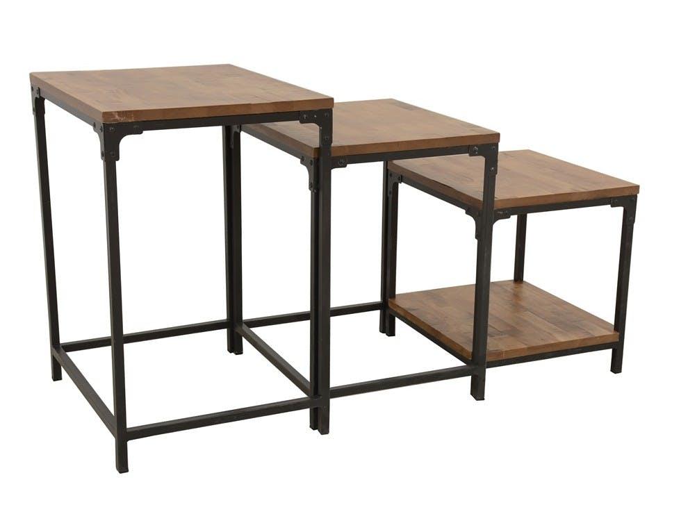 Lot de 3 Tables Gigognes / Sellettes en Hévéa recyclé naturel et métal 55x45x70cm LOFT