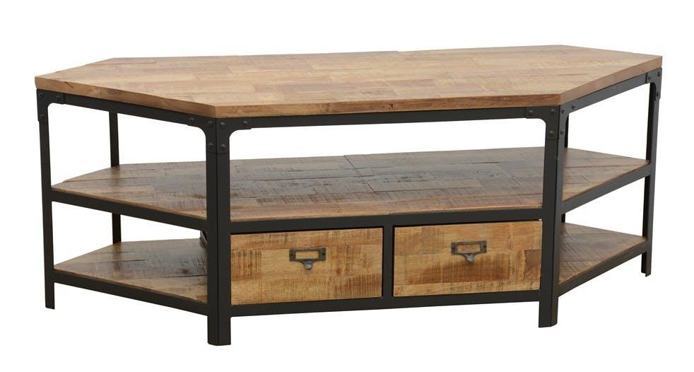 Meuble TV d'angle 2 tiroirs, 3 niches ouvertes dont une grande en Hévéa recyclé naturel et métal 105x45x50cm LOFT