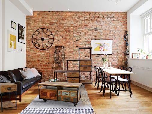 Meuble TV d'angle 2 tiroirs, 3 niches ouvertes dont une grande en Hévéa recyclé naturel et métal 134x50x50cm LOFT